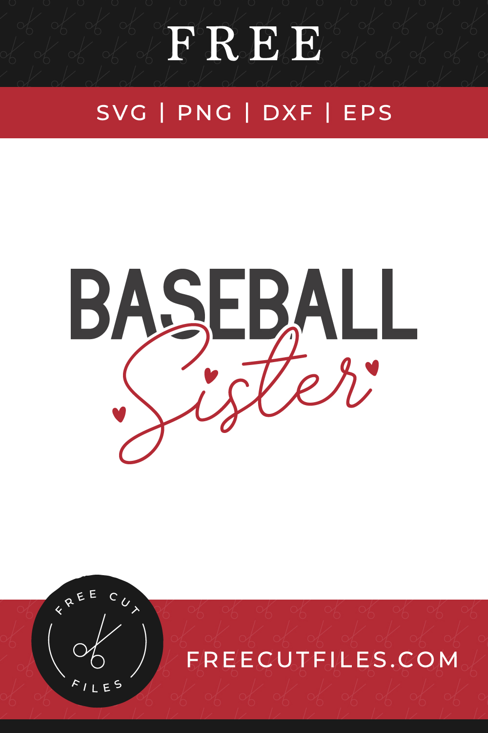 Baseball Sister Free SVG quote cut file