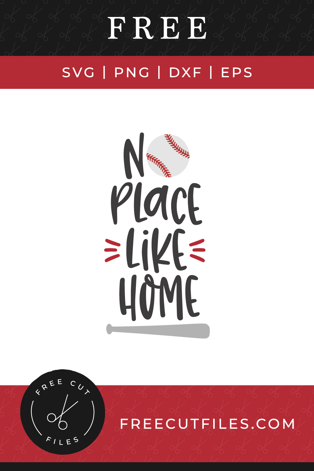 Free SVG baseball quote cut file - No place like home