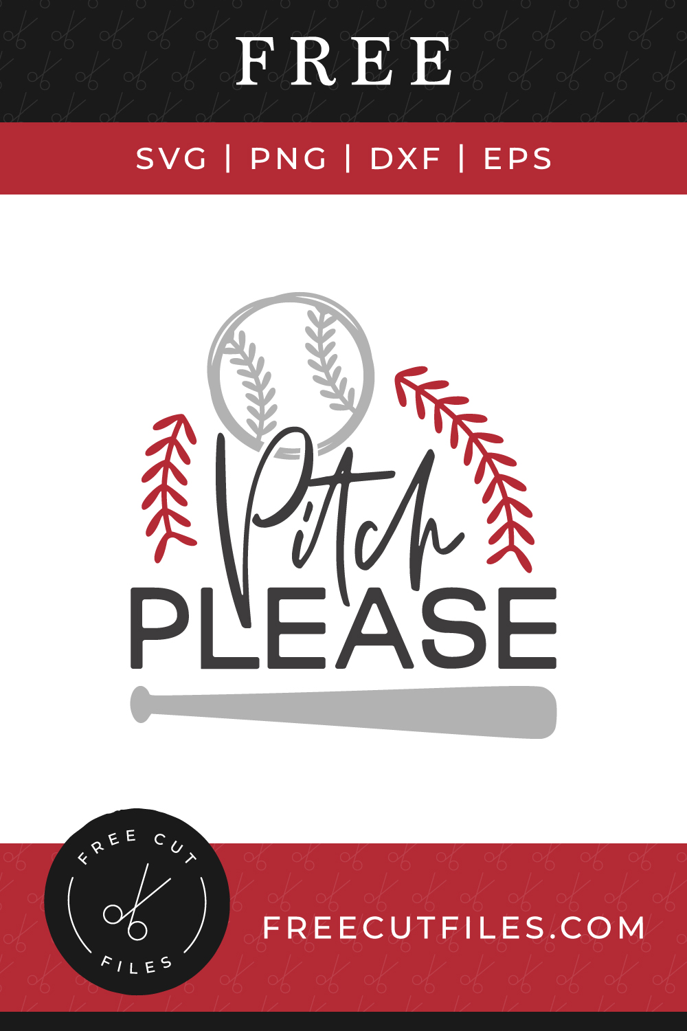 Free SVG baseball quote - Pitch please