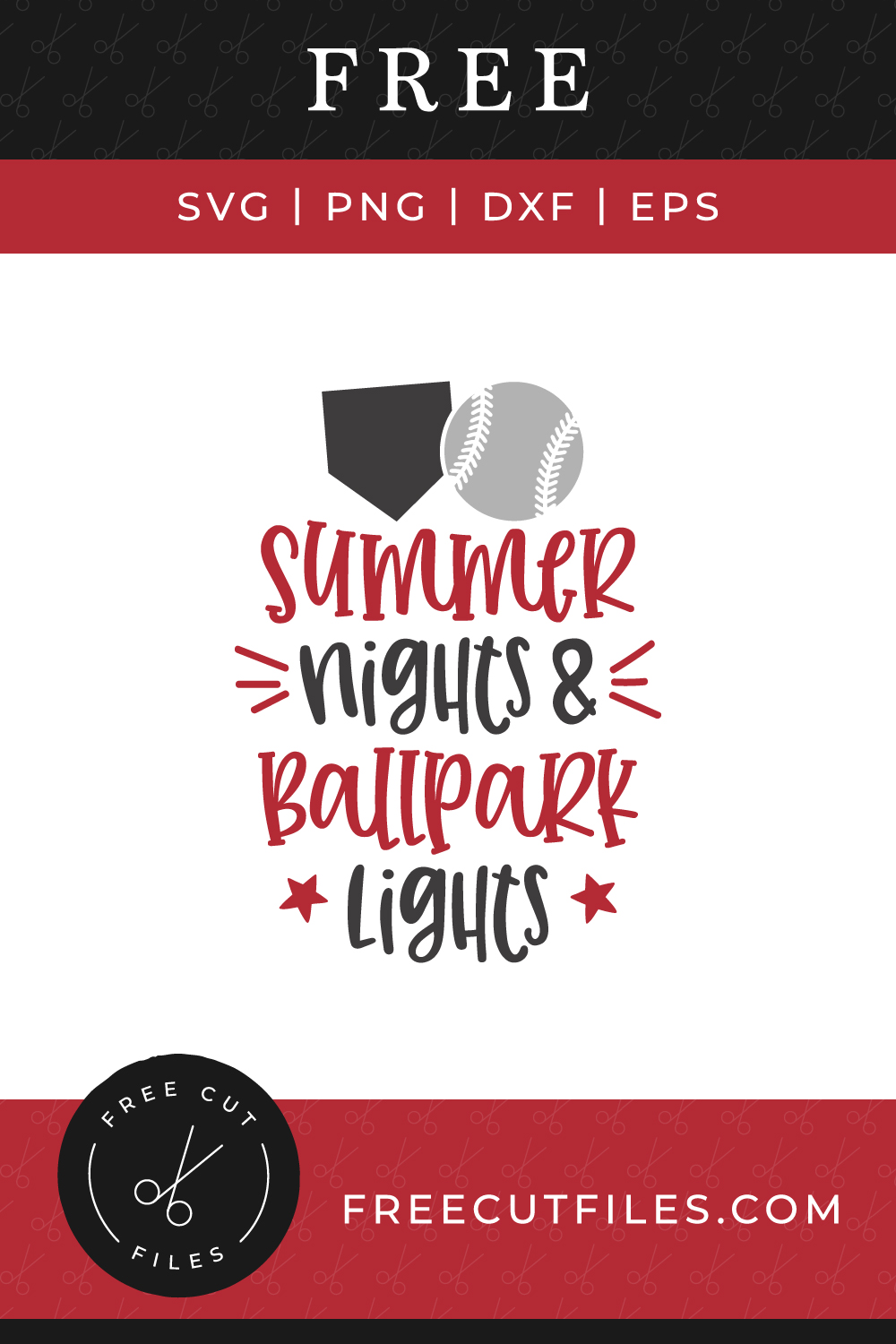 Free Baseball quote SVG - Summer nights and Ballpark lights