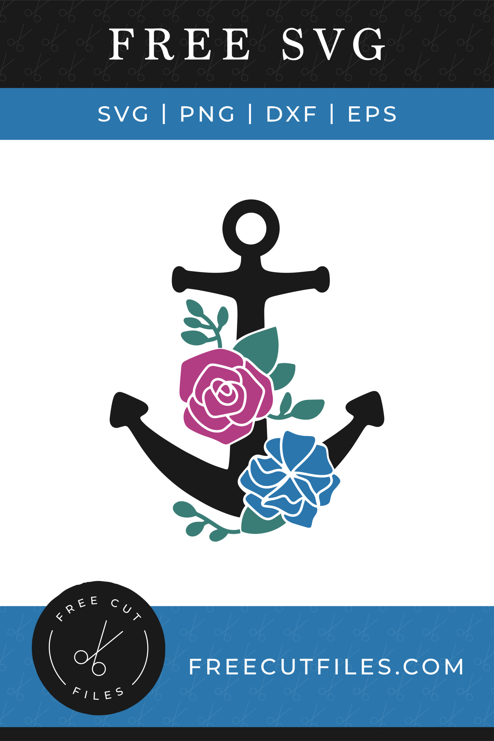 Free Anchor with flowers SVG
