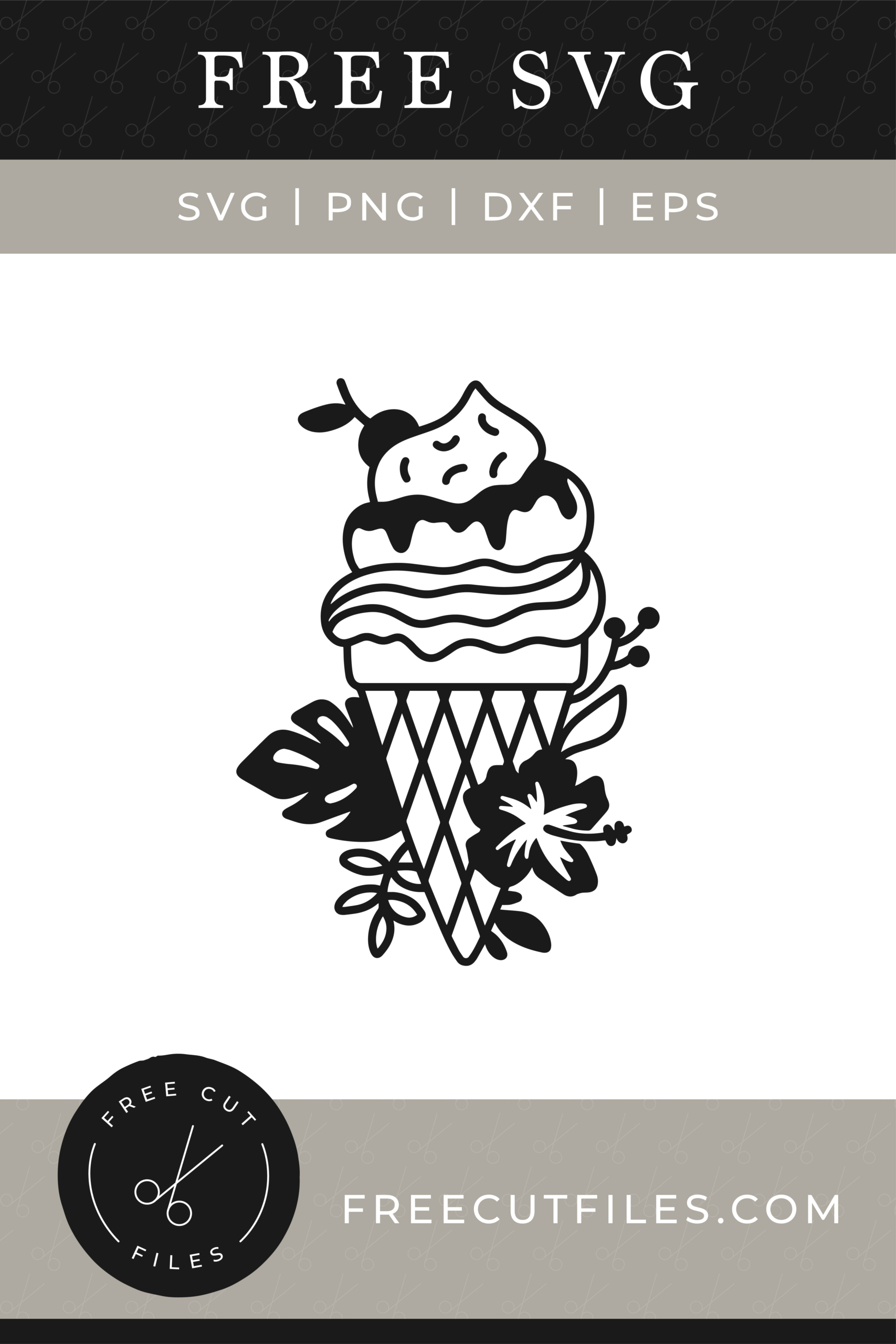 Free Outline Ice cream with flowers SVG