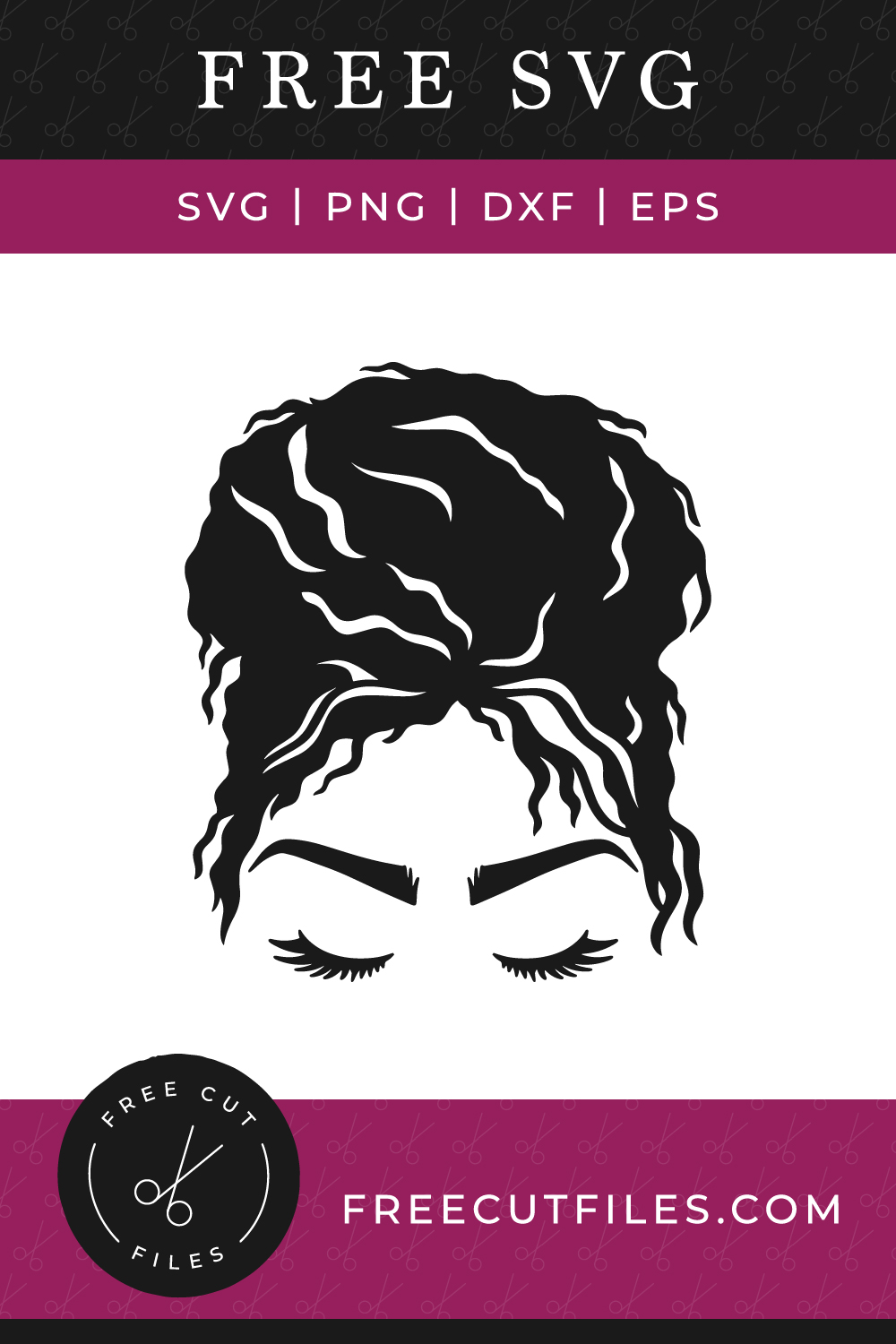 Free Curly messy bun face SVG