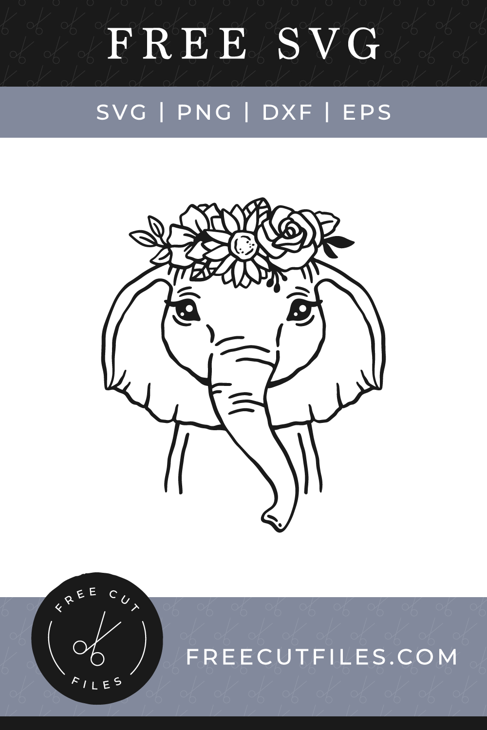 Free Floral Baby Elephant Face SVG
