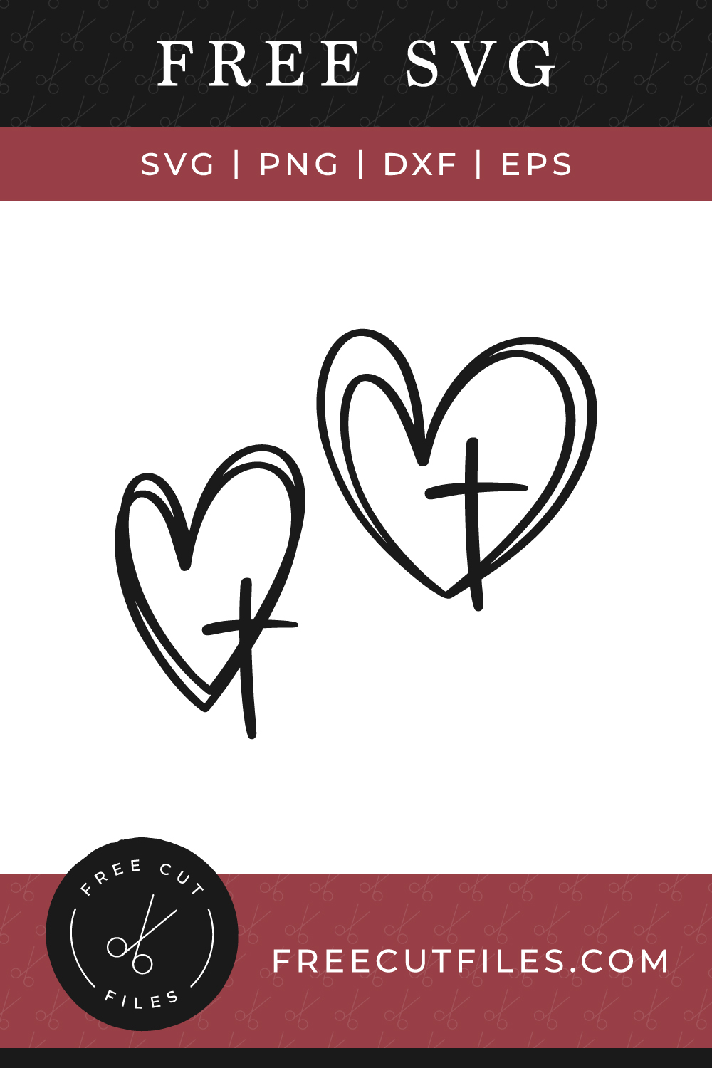 Free heart and cross SVG