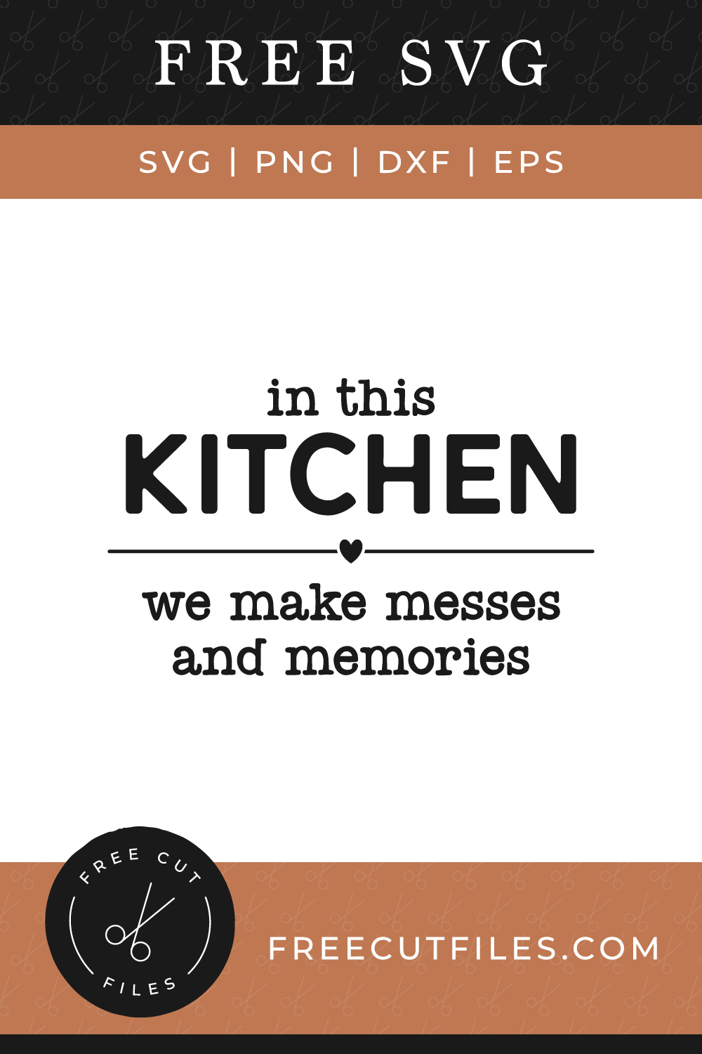 Free In this kitchen we make messes and memories SVG