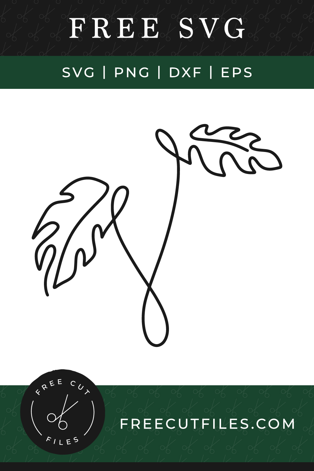 Free Tropical Leaves Continuous Line SVG
